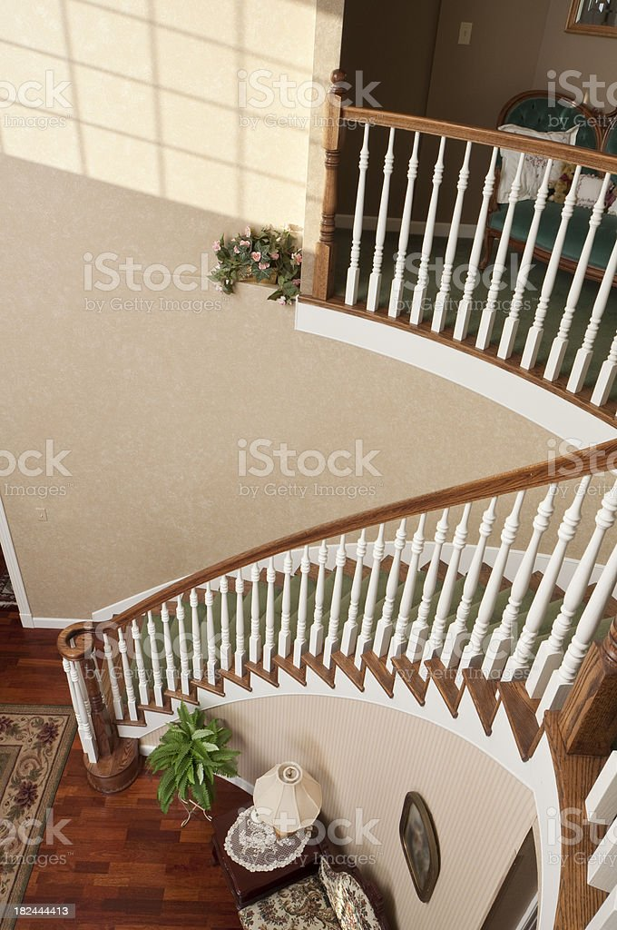 Spiral Staircase with white railing royalty-free stock photo