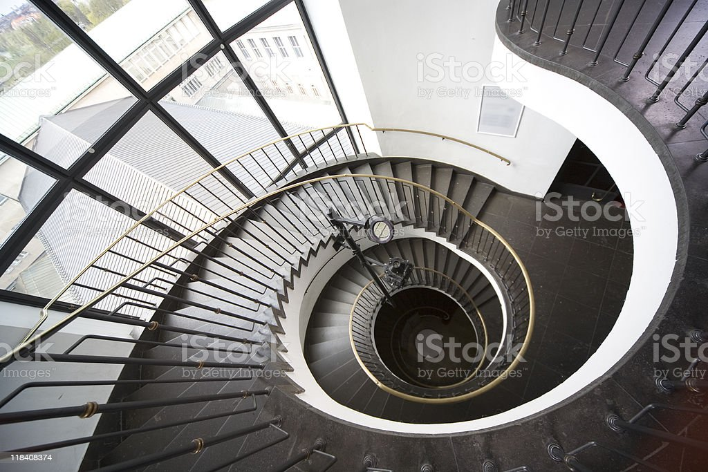 spiral stairs going down royalty-free stock photo