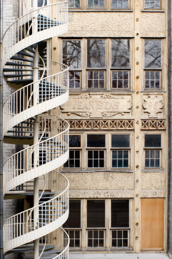 Spiral Stairs On Historical Jacqmain Lyceum Stock Photo - Download Image Now