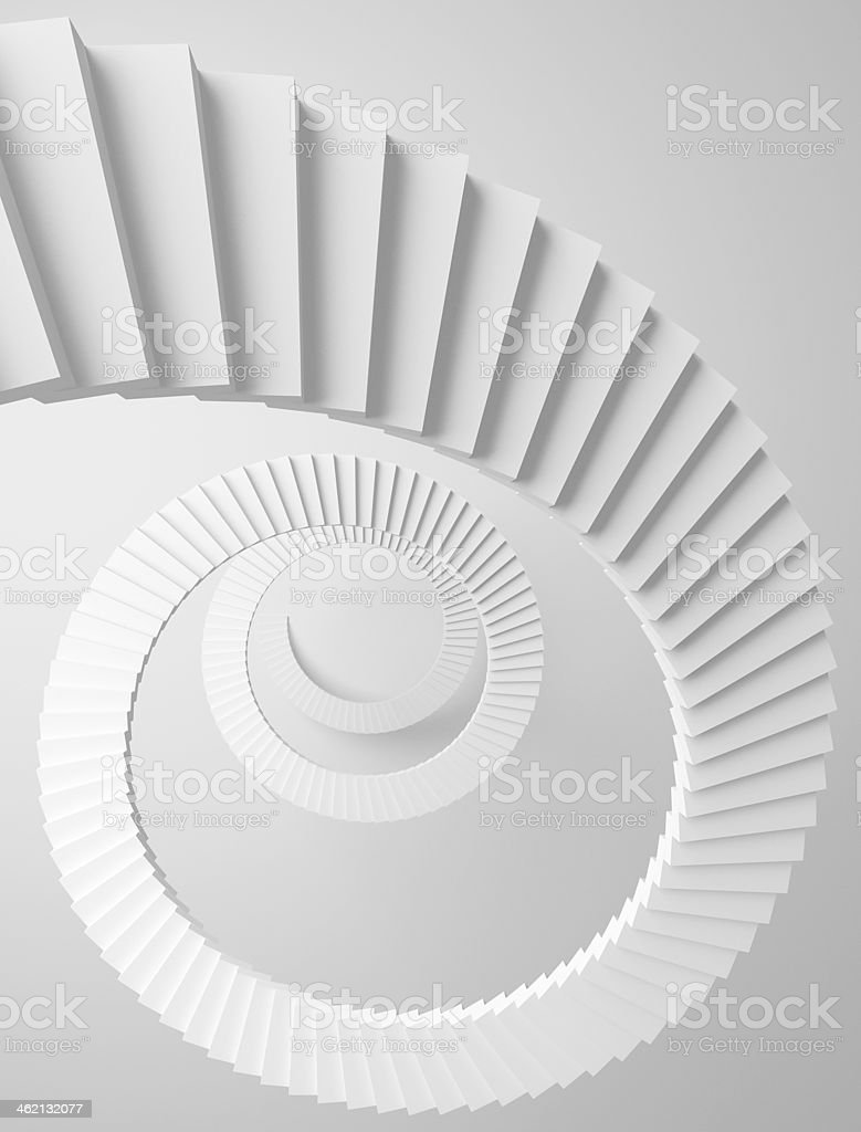 Spiral stairs perspective background. Monochrome 3d illustration stock photo