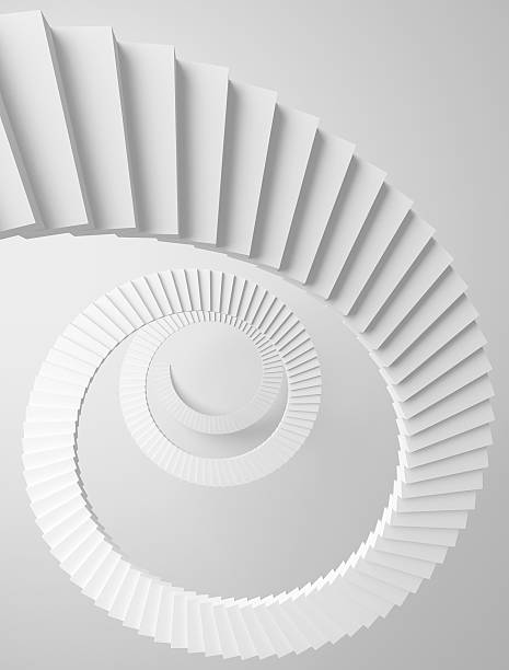 spiral stairs perspective background. monochrome 3d illustration - two dimensional shape stock photos and pictures