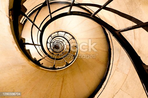 Spiral stairs photography  in Paris in Arc de Triomphe - France