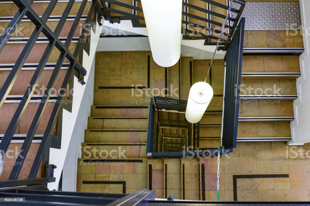 Spiral stairs Running ladders in a circle. stock photo