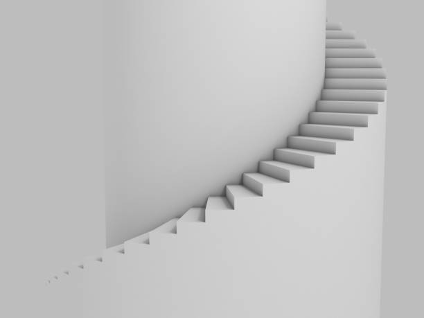 spiral stairway as background 3d illustration - staircase stock photos and pictures