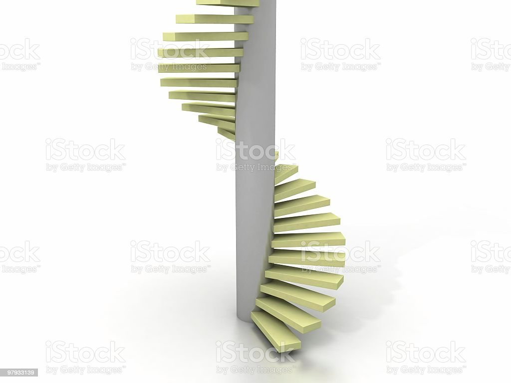 3D spiral stairway royalty-free stock photo