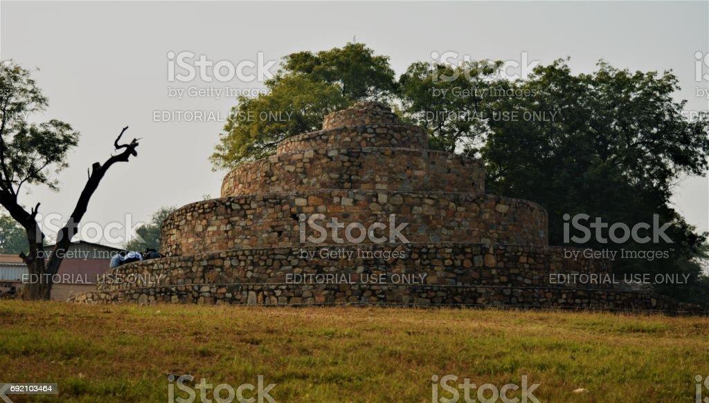 Spiral stone structure in Qutub Minar, Delhi stock photo