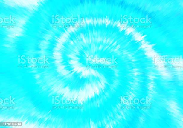 Photo of Spiral Swirl Exploding Abstract Tie Die Tye Dye Effect Blue White Teal Background