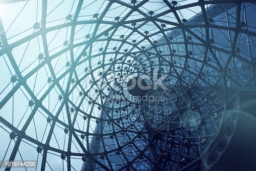 Spiral texture rooftop background.Modern and contemporary arcitec. Structural glass facade curving roof of fantastic office building.Abstract architecture fragment.
