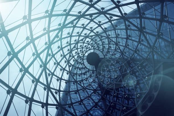 螺旋紋理屋頂背景。現代和 conteporary 的 arcitect。結構玻璃門面彎曲的夢幻般的辦公樓屋頂。抽象體系結構片段。 - 重複螺旋型 個照片及圖片檔