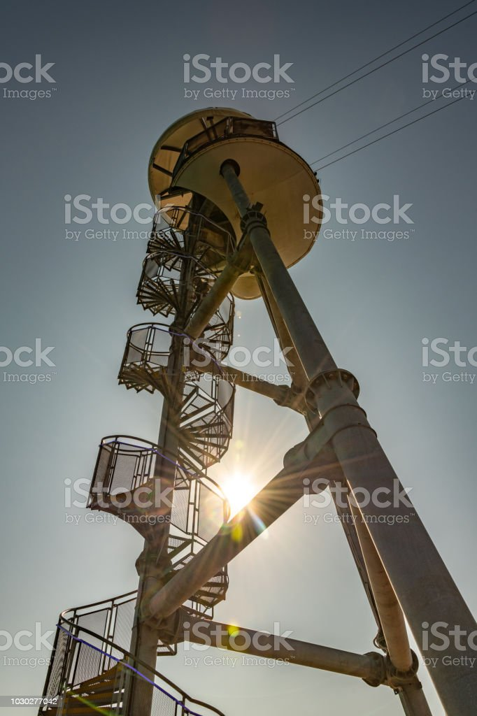 Spiral tower for the zip line on Bournemouth pier at sunset stock photo