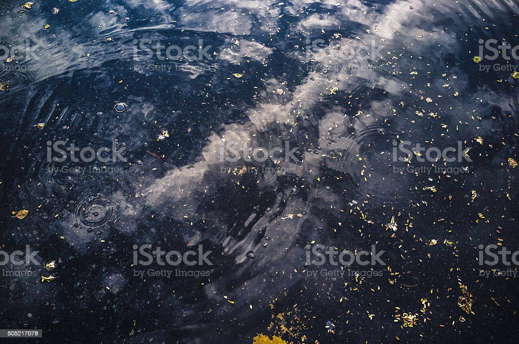 Spiral Waves on a water puddle stock photo