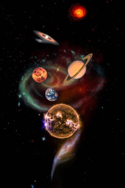 Spirale mit Planeten als Sonnensystem-Konzept. – Foto