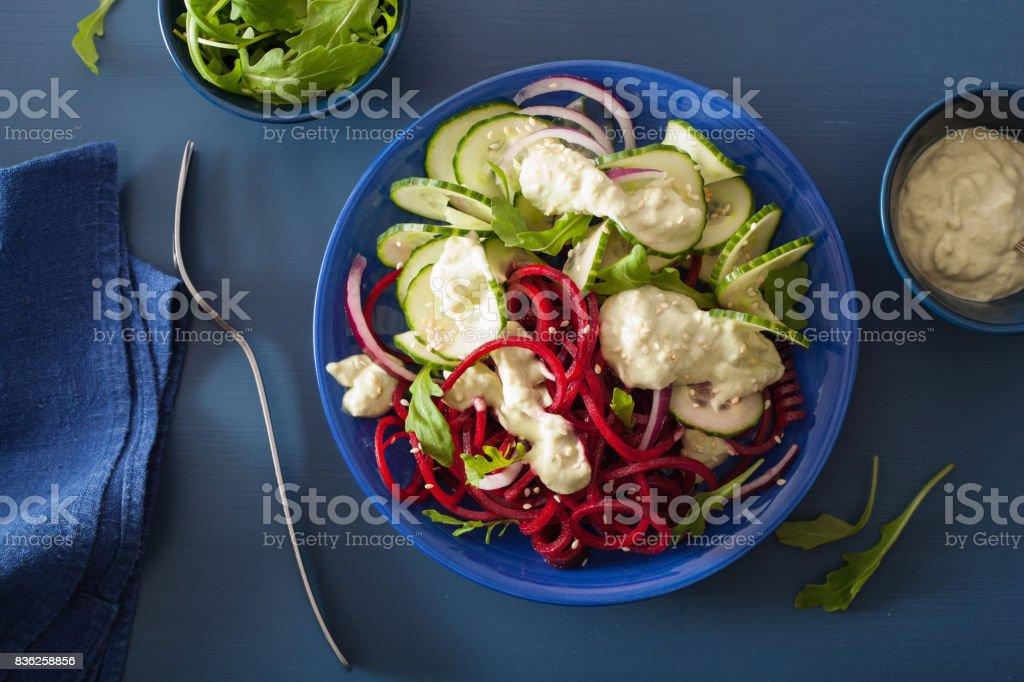 Spiralized Rote Beete Und Gurke Salat Mit Avocadodressing Gesunde ...