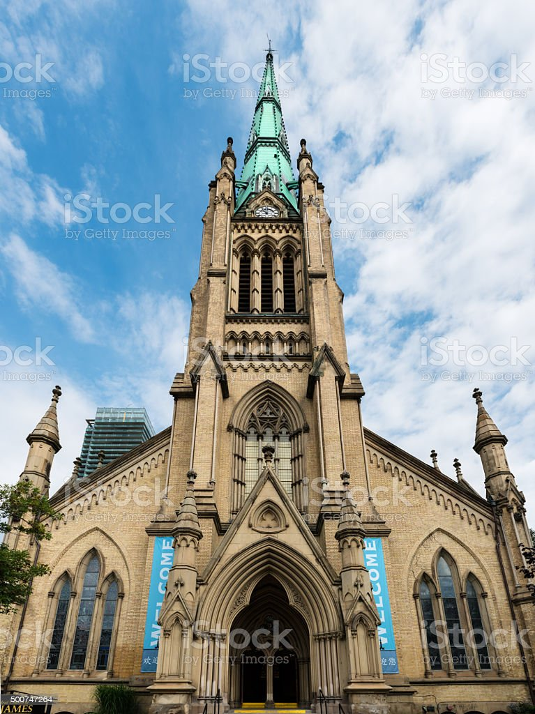 Spire and front facade of St James Cathedral in Toronto stock photo