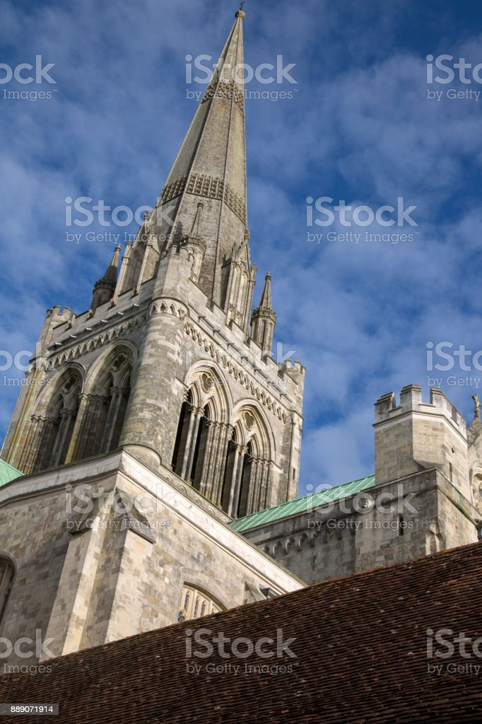 Spire; Chichester Cathedral Church stock photo