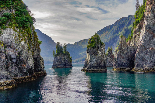 Rock Formations and Turquoise Waters of Spire Cove in the Kenai Fjords National Park. Seward, Alaska