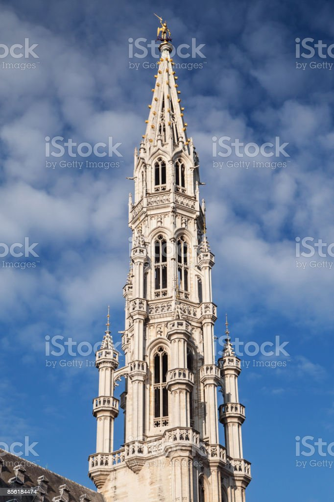 Spire of Brussels Town Hall stock photo