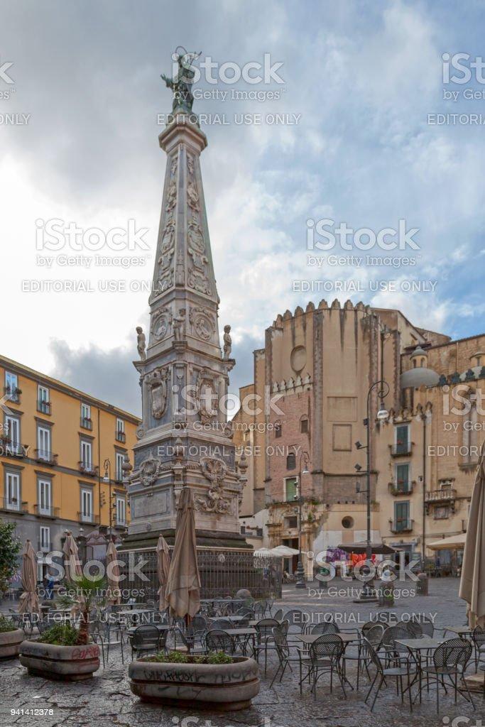 Spire of San Domenico in Naples stock photo