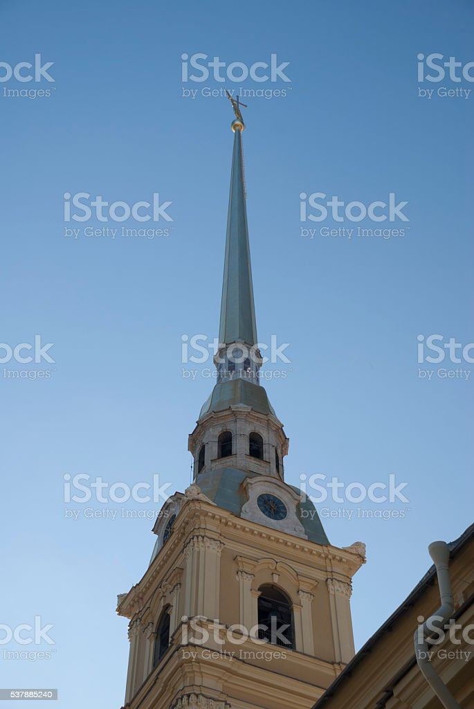 spire of the Peter and Paul fortress stock photo