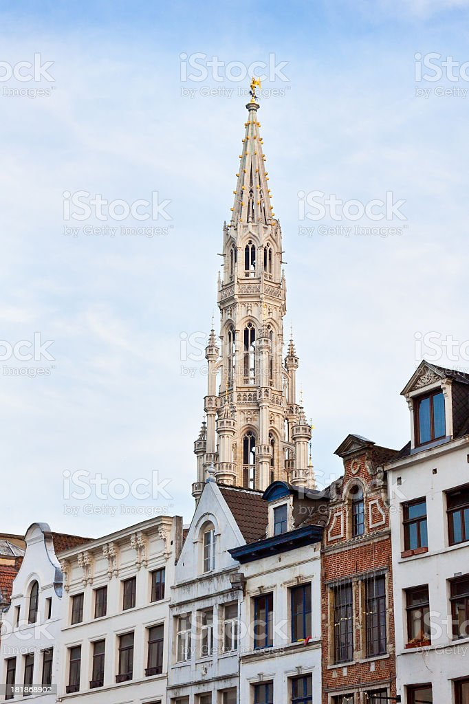 Spire of Town Hall (Hotel de Ville), Brussels. royalty-free stock photo