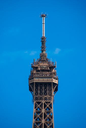 istock Spire peak of Eiffel Tower Tour Eiffel blue sky steel structure 685492448