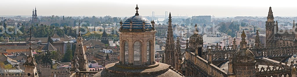 Spires and domes Seville cityscape panorama stock photo