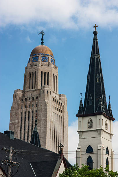 spires of lincoln nebraska stock photo