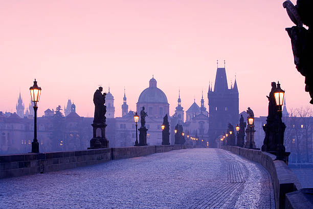 Spires of Old Town in Prague from Charles Bridge stock photo