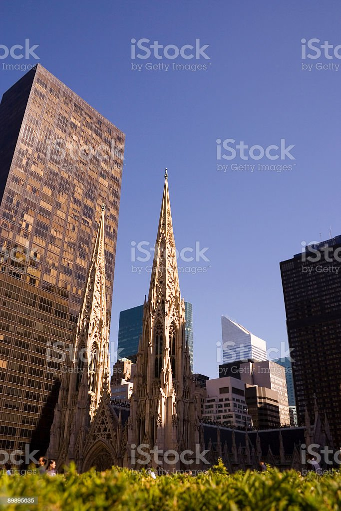 spires of saint Patrick's cathedral in New York city royalty-free stock photo