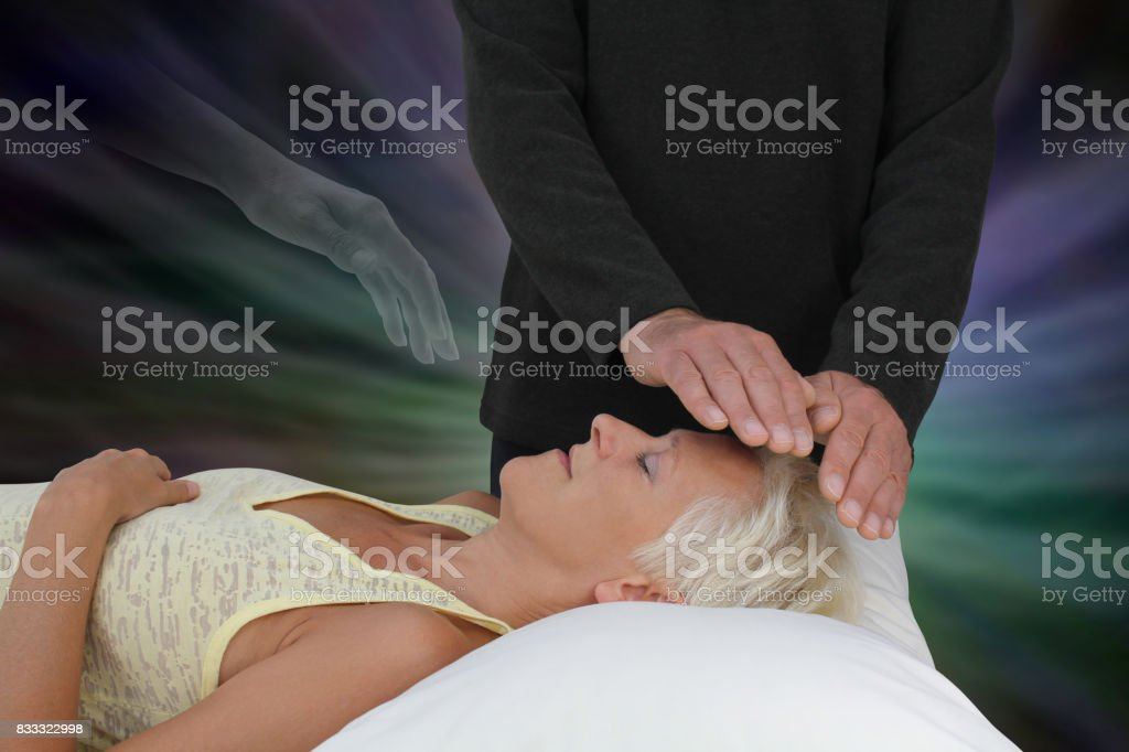 Spirit Guide Assisting Healing Session stock photo