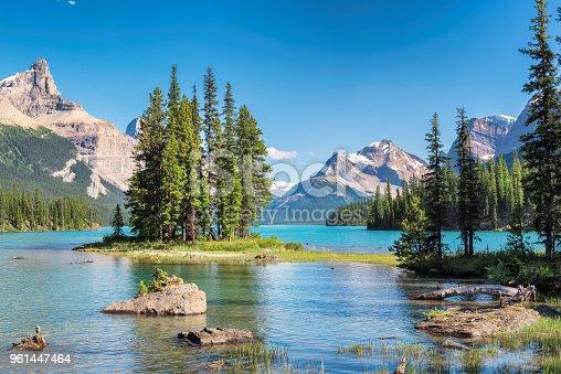 Beautiful Spirit Island in Maligne Lake, Jasper National Park, Canadian Rockies, Alberta, Canada.