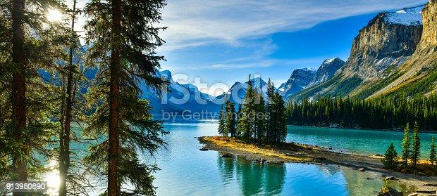 istock Spirit Island in Maligne Lake, Jasper National Park,Canada 913980890