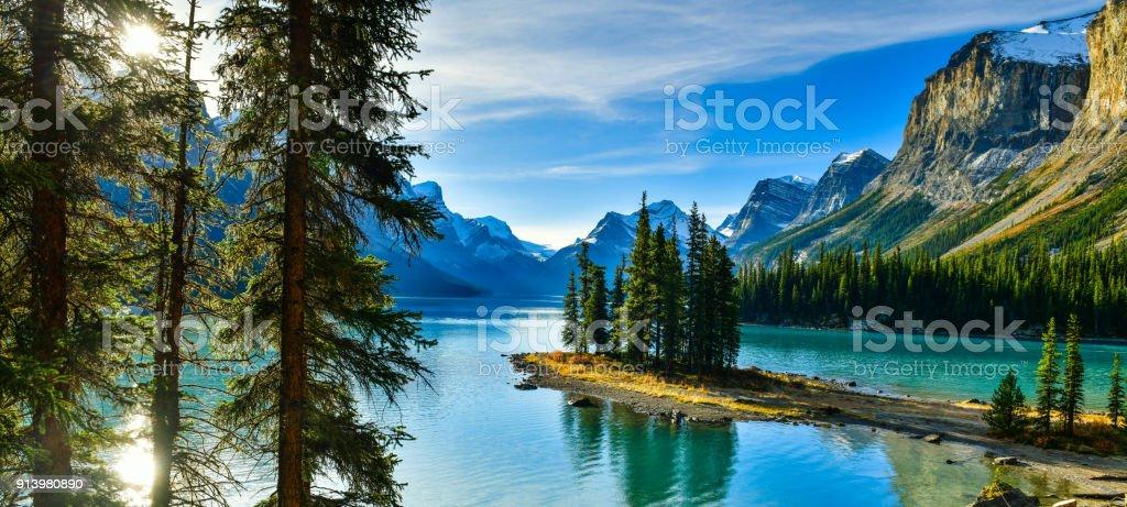 Spirit Island in Maligne Lake, Jasper National Park,Canada stock photo