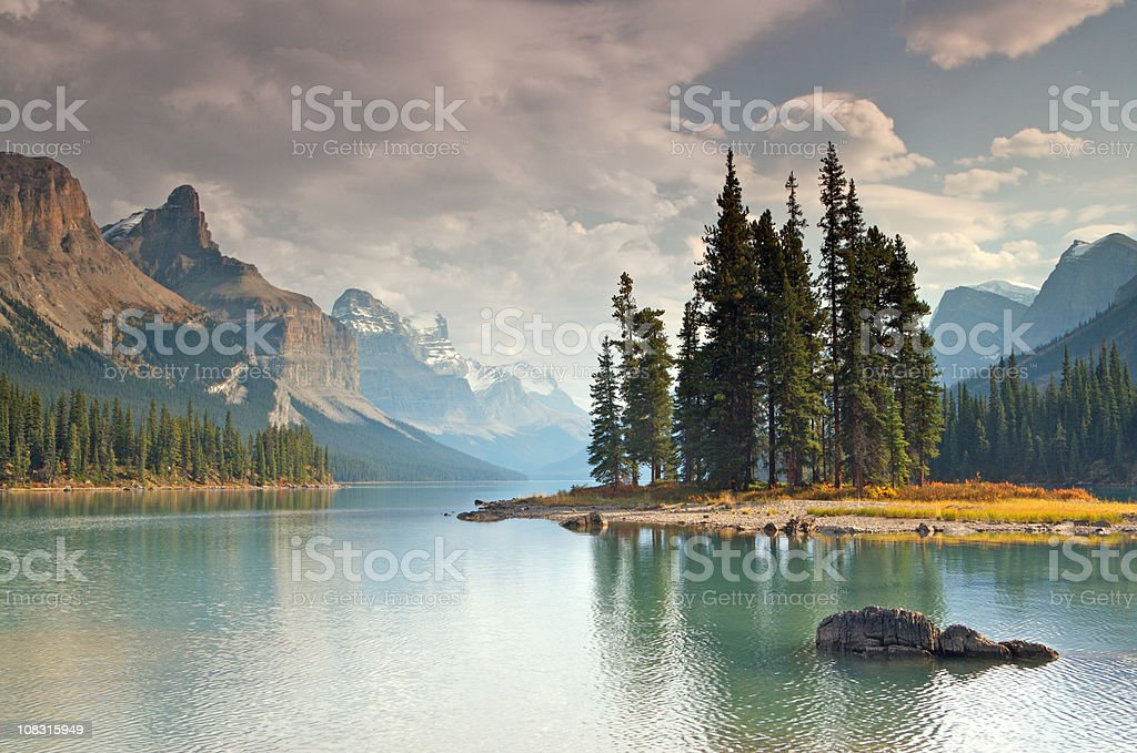 Spirit Island Maligne Lake stock photo