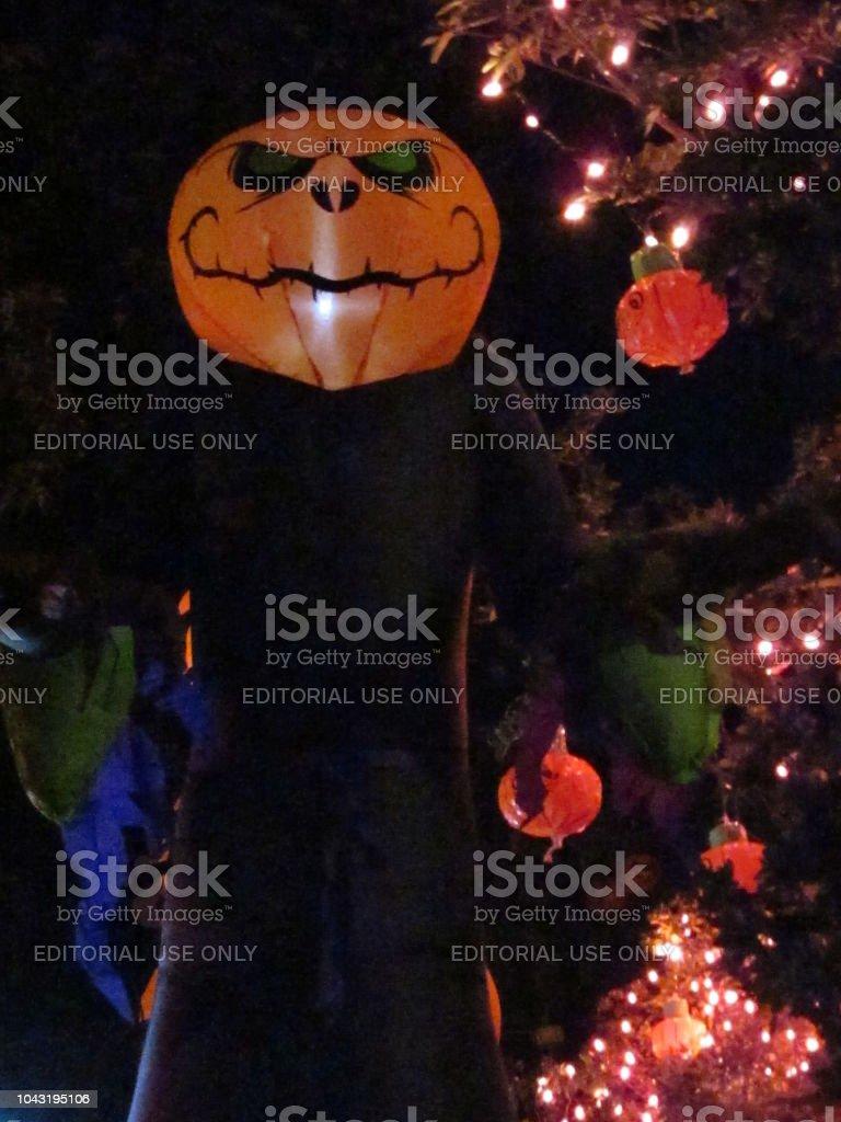 Spirit of Halloween Decoration at Night stock photo