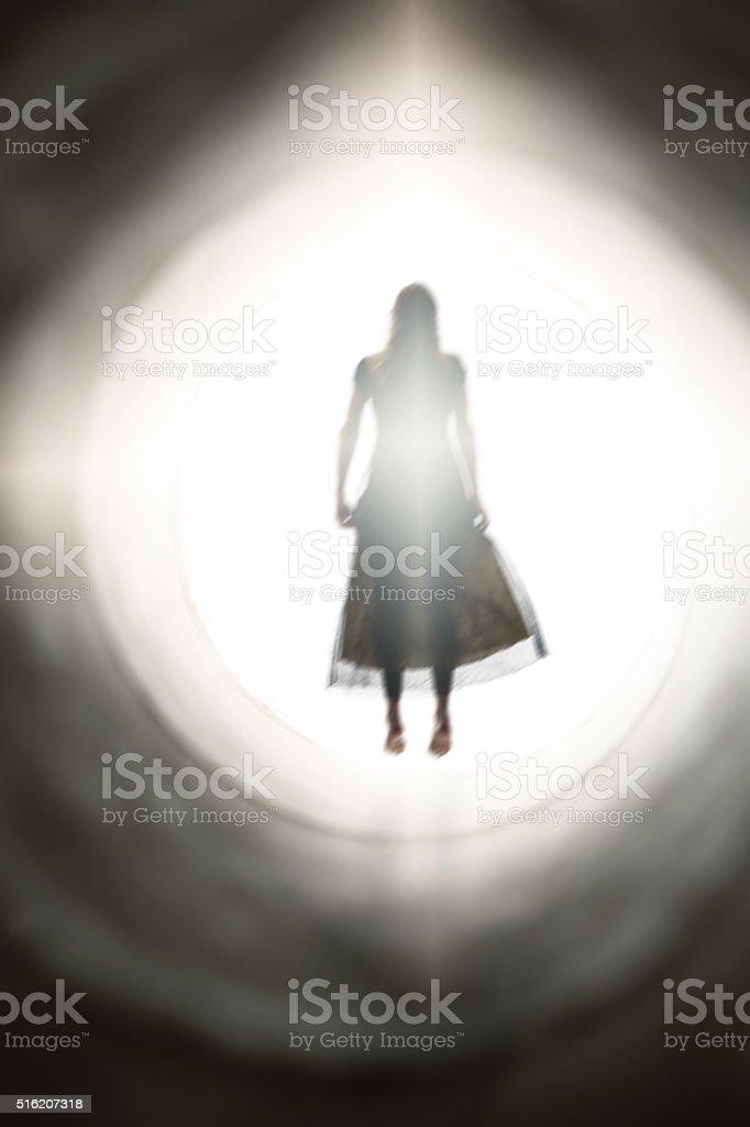 Spirit Of Woman Bathing In Light stock photo