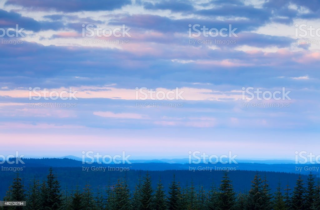 Spiritual landscape, mountains, clouds, dawn, twilight, Kahler Asten, Sauerland, Germany stock photo