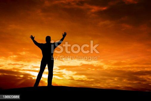 istock XXXL spiritual man silhouette 136920689