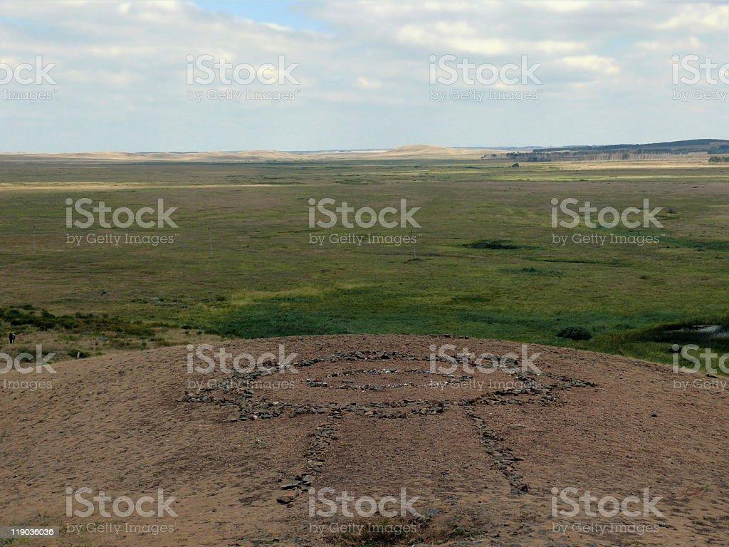 spiritual pattern in mountain 'Shamanka' - Arkaim stock photo