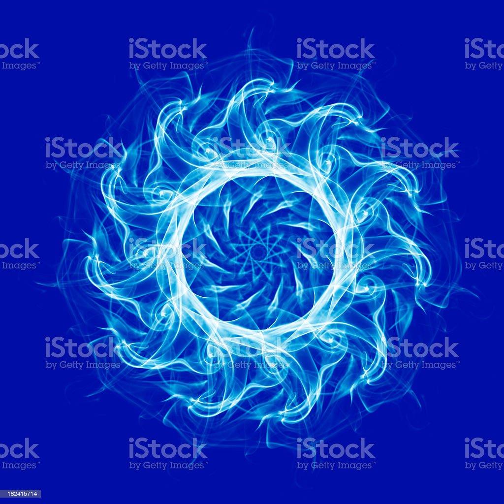 Spirograph design pattern on blue background stock photo