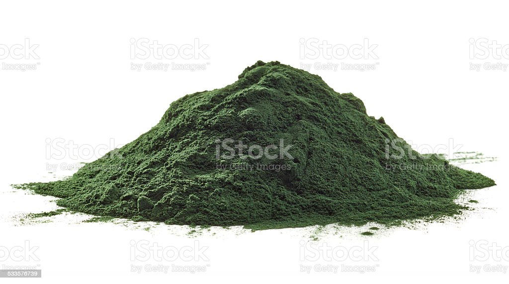 Spirulina algae powder stock photo
