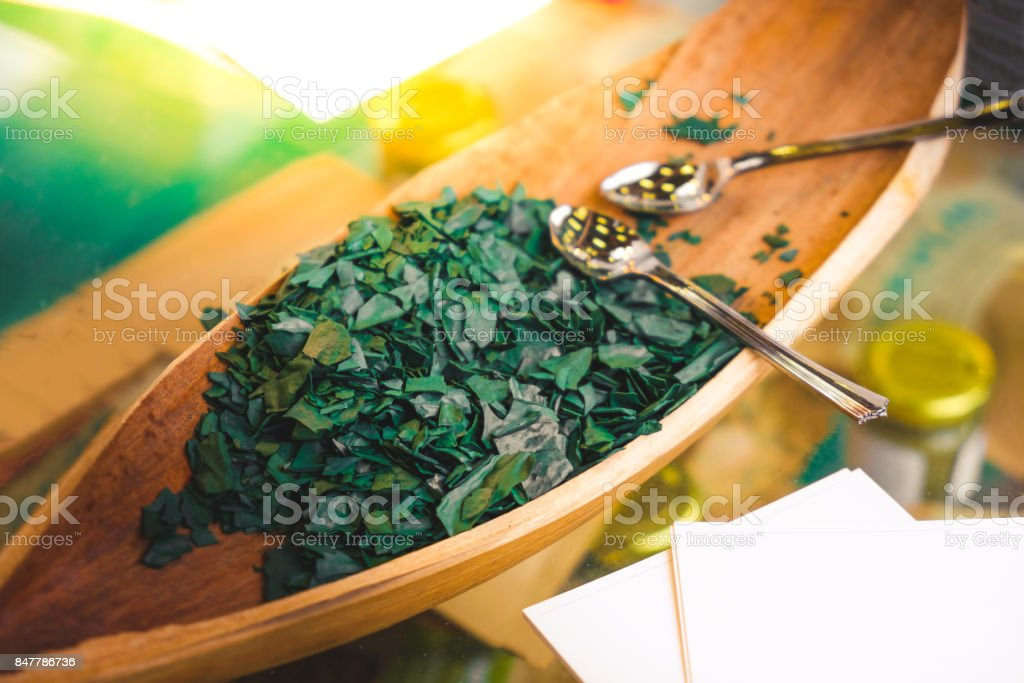 spirulina algae - spirulina is a superfood used as a food supplement source of vitamin protein and beta carotene stock photo