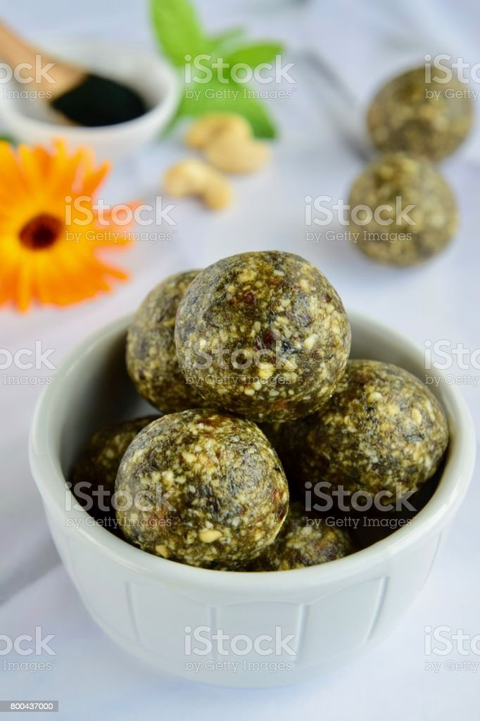Spirulina energy balls stock photo