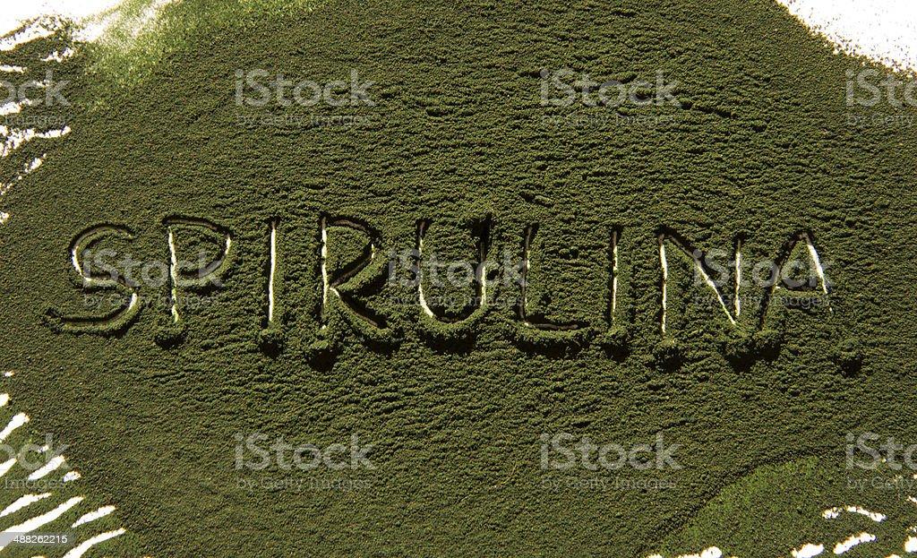 Spirulina inscription stock photo