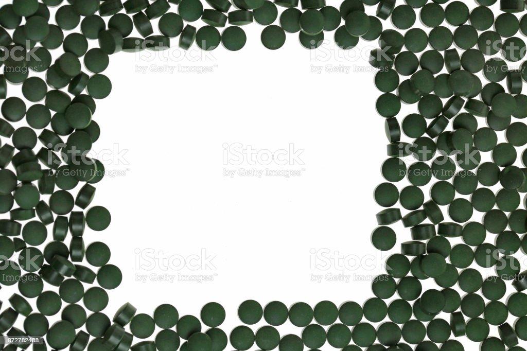 spirulina Mockup. alga spirulina in tablets. square frame of green...