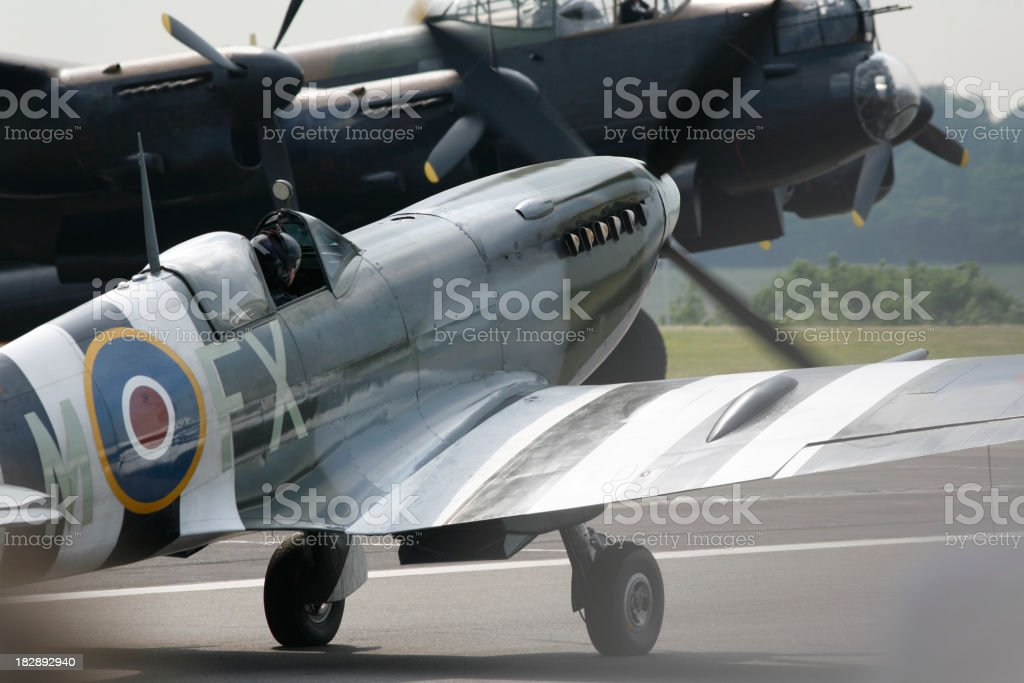 Spitfire and Lancaster Bomber stock photo