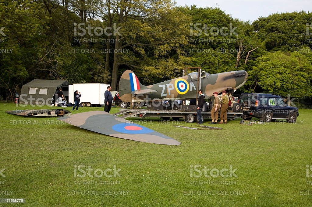 Spitfire being laoded onto a trailer stock photo