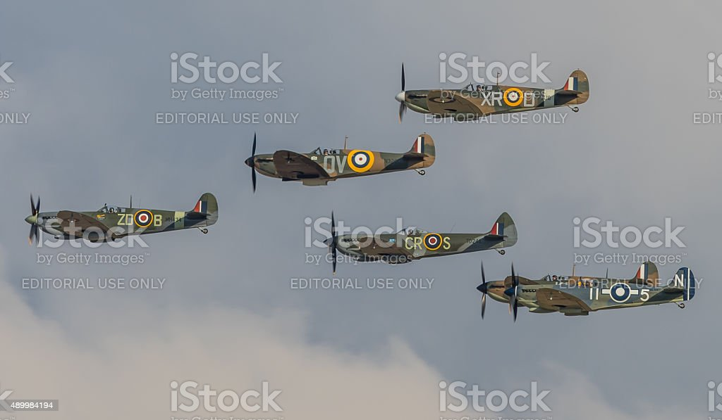 Spitfire formation flypast stock photo