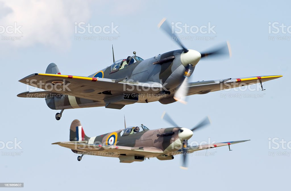 Spitfire formation stock photo