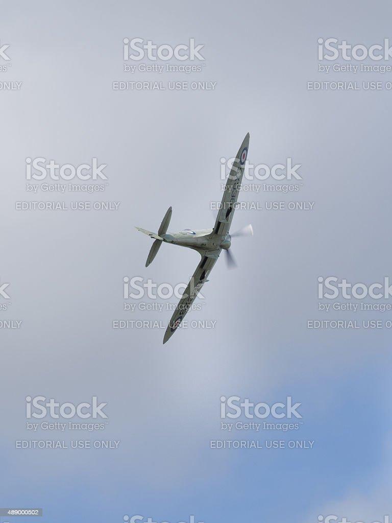 Spitfire in flight stock photo